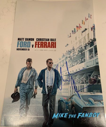 Christian Bale signed ford v ferrari poster shirtless