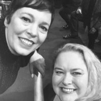 Olivia Coleman with fans signing autographs