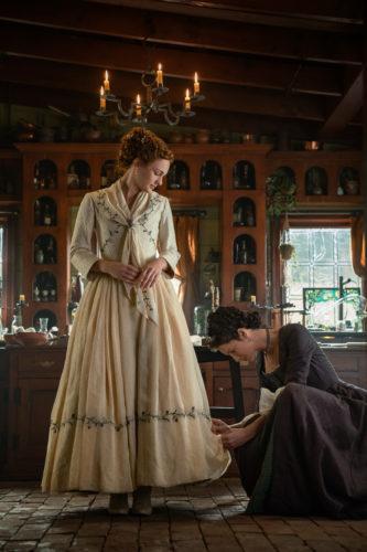 Sophie Skelton as Brianna Randall Fraser and Caitriona Balfe as Claire Fraser - Outlander Season 5 Episode 1