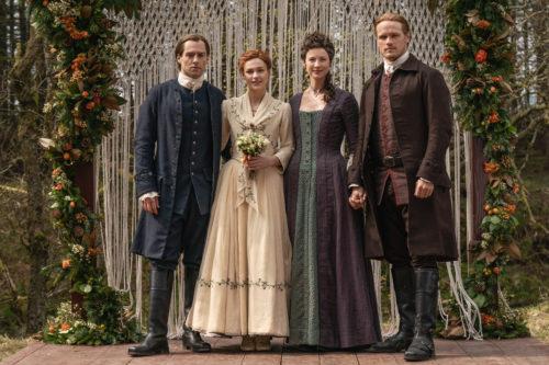 Richard Rankin as Roger MacKenzie, Sophie Skelton as Brianna Fraser, Caitriona Balfe as Claire Fraser and Sam Heughan as Jamie Fraser - Outlander Season 5 Episode 1