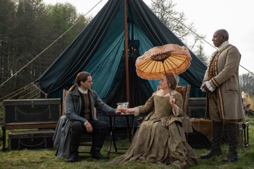 Maria Doyle Kennedy as Jocasta Cameron, Richard Rankin as Roger MacKenzie and Colin McFarlane as Ulysses