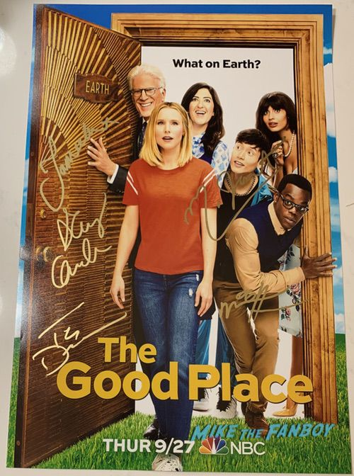The Good Place season 3 cast signed autograph poster ted danson