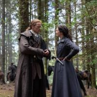 Sam Heughan as Jamie Fraser and Caitriona Balfe as Claire Fraser