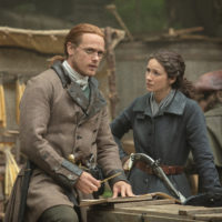 Sam Heughan as James Fraser and Caitriona Balfe as Claire Fraser