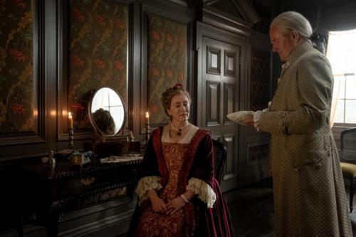 Maria Doyle Kennedy as Jocasta Cameron and Alastair Findlay as Duncan Innes courtesy of Starz