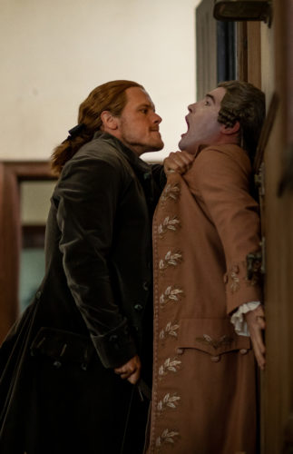Sam Heughan as Jamie Fraser and Chris Donald and Philip Wylie courtesy of Starz