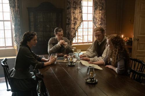 Caitriona Balfe as Claire Fraser, David Berry as Lord John Grey, Sam Heughan as Jamie Fraser and Sophie Skelton and Brianna Fraser MacKenzie, photo courtesy of Starz