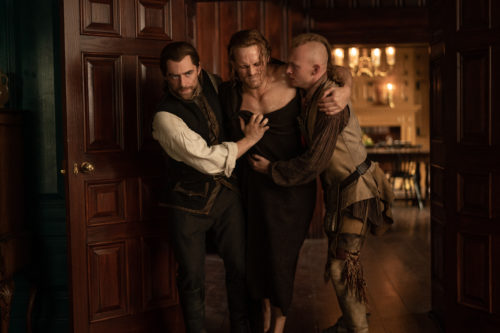 Sam Heughan as Jamie Fraser,  Richard Rankin as Roger MacKenzie and John Bell and Young Ian photo courtesy of Starz
