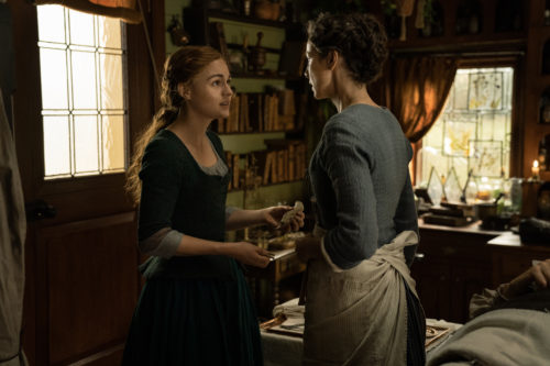 Caitriona Balfe as Claire Fraser and Sophie Skelton as Brianna MacKenzie photo courtesy of Starz