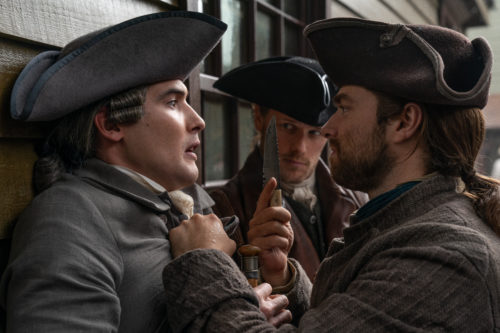 Sam Heughan as Jamie Fraser,  Richard Rankin as Roger MacKenzie and Chris Donald and Phillip Wylie  photo courtesy of Starz