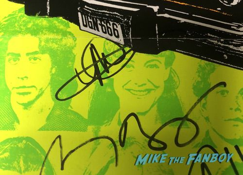 dazed and confused signed poster Wiley Wiggins Michelle Burke with fans signing autographs 0034