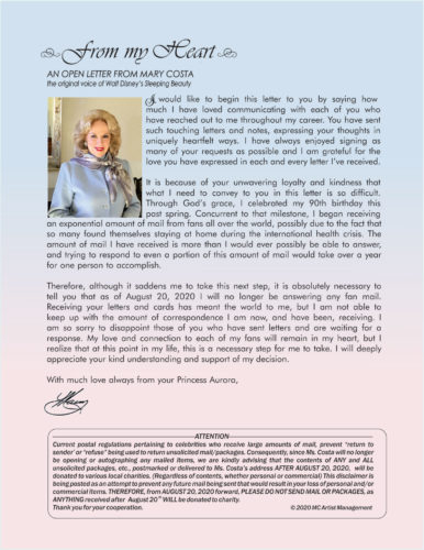 mary costa fanmail letter letter